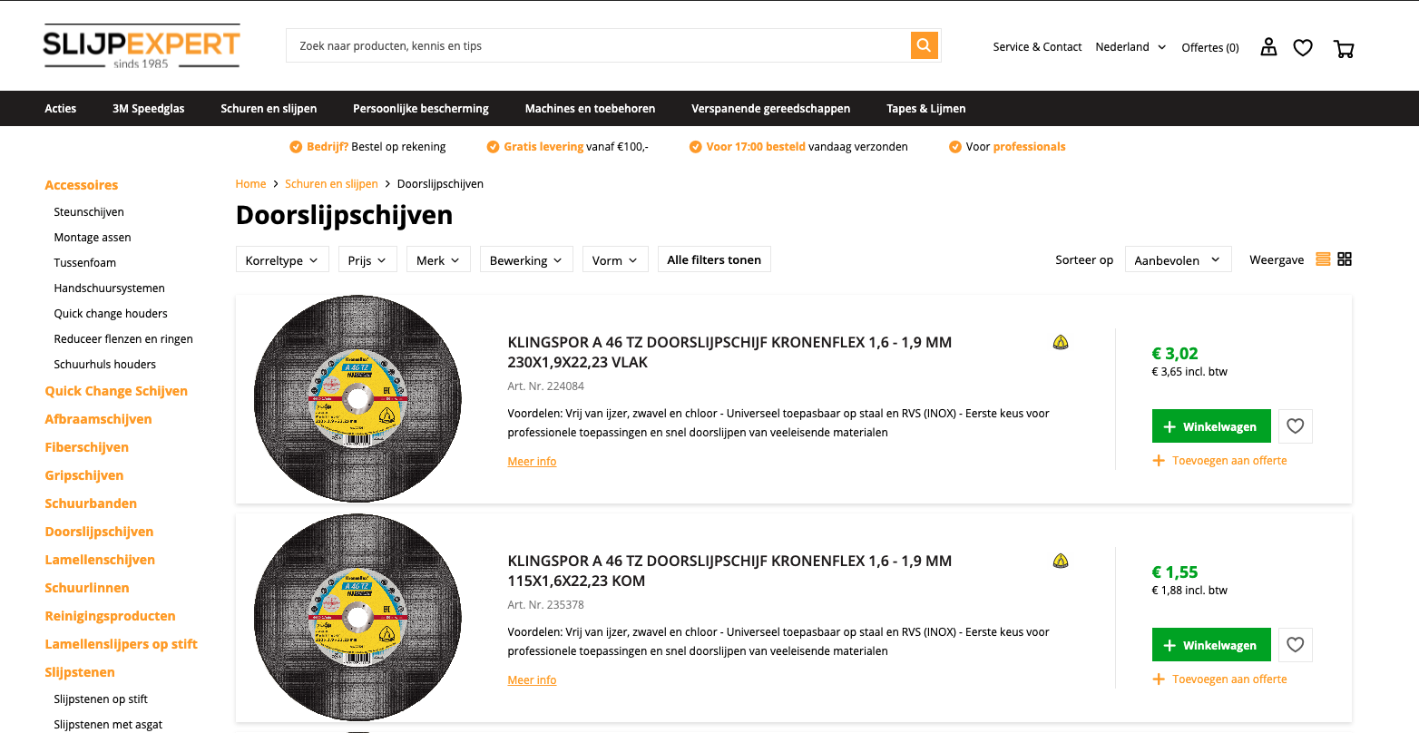 Slijpexpert - b2b webshop gemaakt door Jelba online b2b marketing