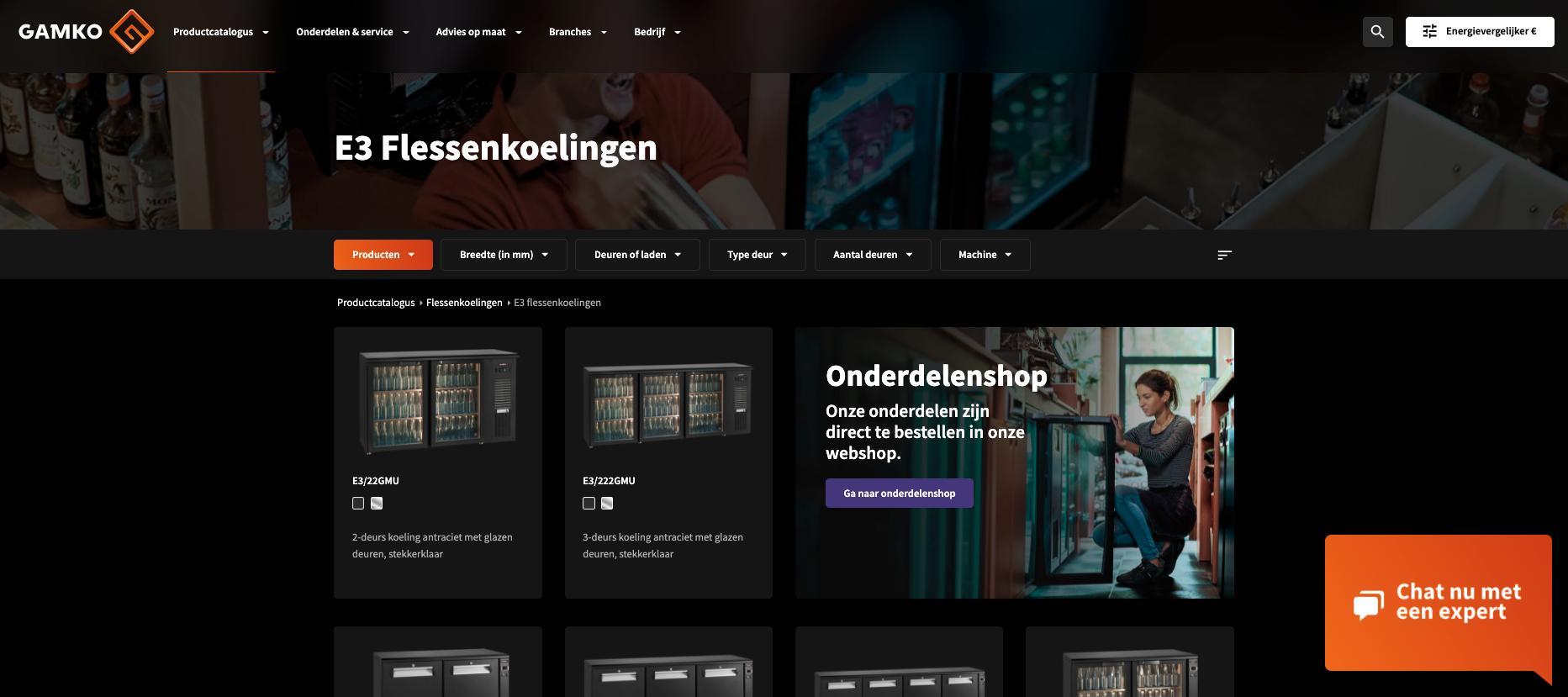 Gamko voorbeeld B2B Webshop gemaakt door Jelba b2b online marketing