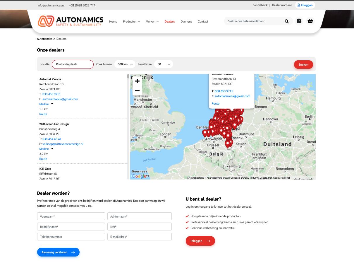 Autonamics voorbeeld verkoop via dealers - website gemaakt door Jelba b2b online marketing