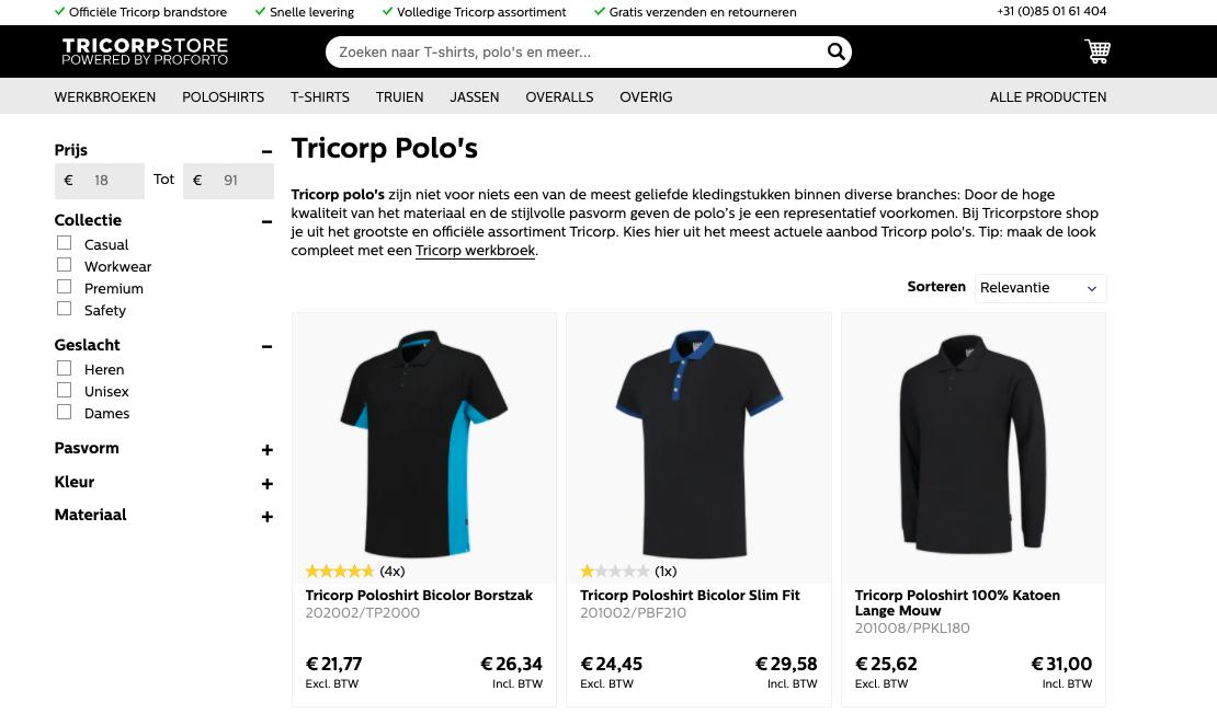 Tricorp voorbeeld B2B webshop gemaakt door Jelba